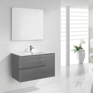 Kúpeľňová skrinka s umývadlom a zrkadlom Happy, odtieň sivej, 80 cm