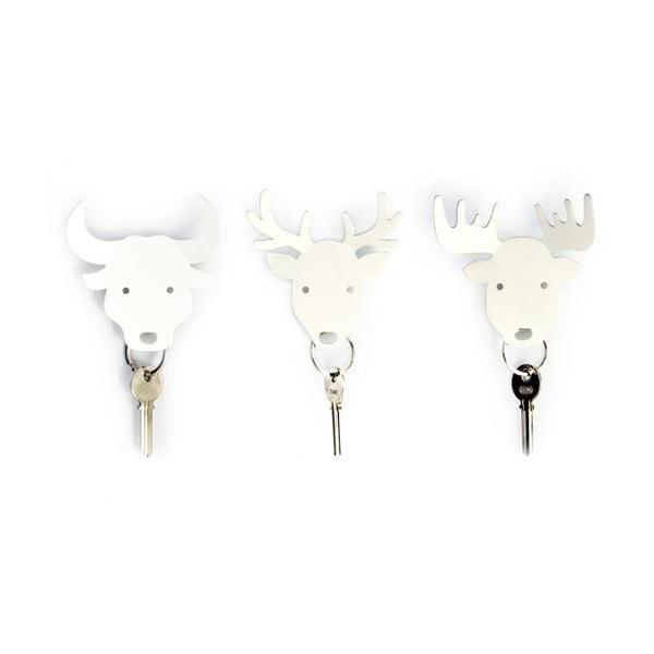 Vešiačik na kľúče QUALY Deer Key Holder, biely