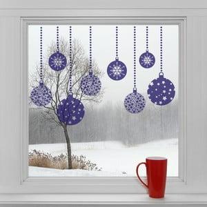Elektrostatické vianočné samolepky Modré dekorácie