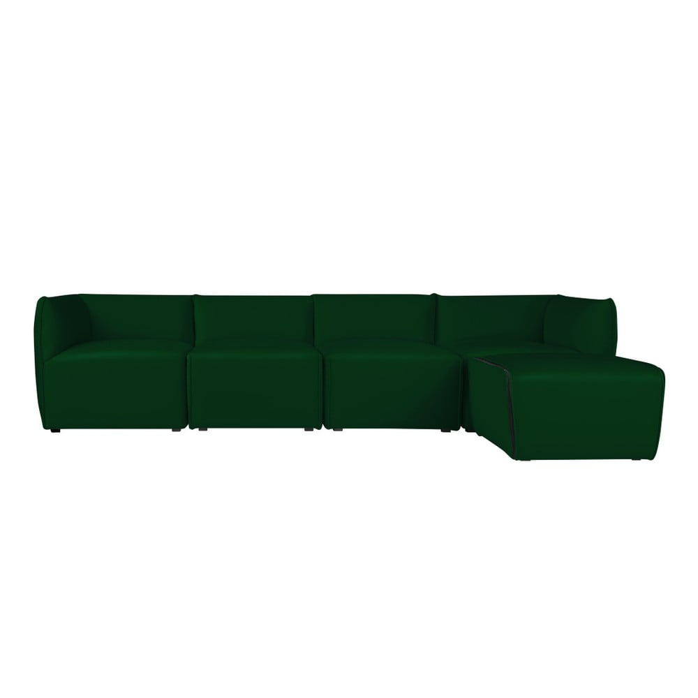 Zelená modulová štvormiestna pohovka s ležadlom Norrsken Ebbe
