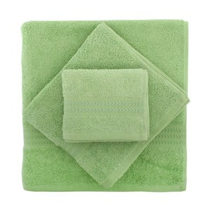 Set 3 zelených uterákov a osušky Rainbow