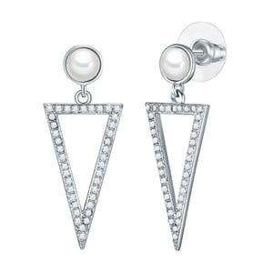 Perlové náušnice so zirkónmi Pearls of London Zoia