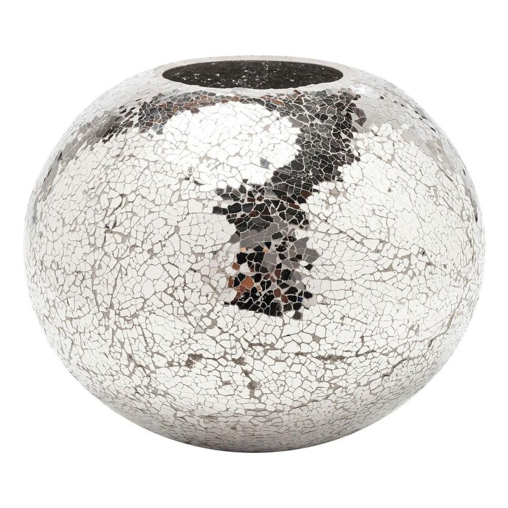 Váza v striebornej farbe Kare Design Mosaix Disco, 21 cm