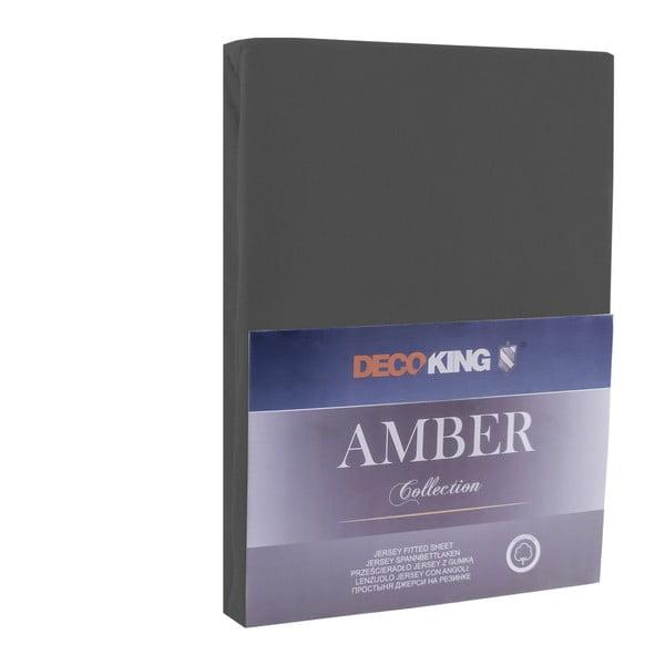 Tmavosivá elastická bavlnená plachta DecoKing Amber Collection, 80-90×200cm