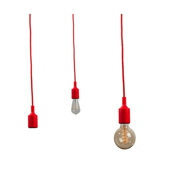 Textilný kábel s objímkou 3 m - červený