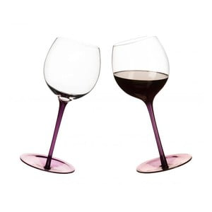 Pohár  na víno s oblým dnom 2 ks, fialové