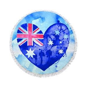 Guľatá plážová osuška Homemania Australia Blue Hearth, Ø150cm