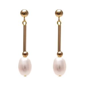 Zlaté náušnice s ružovou perlou GemSeller Albet