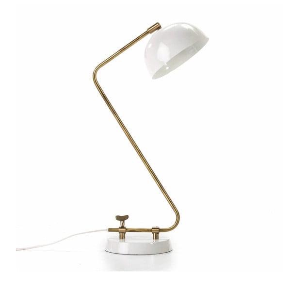 Biela stolová lampa s konštrukciou v zlatej farbe Thai Natura