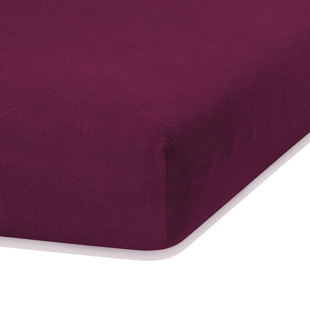 Tmavofialová elastická plachta s vysokým podielom bavlny AmeliaHome Ruby, 200 x 160-180 cm