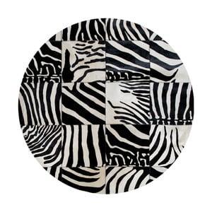 Kožený koberec s motívom zebry Pipsa Trionom, ⌀150 cm