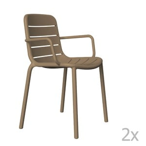 Sada 2 hnedých záhradných stoličiek sopierkami Resol Gina