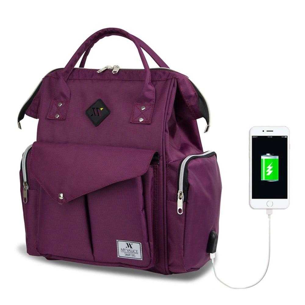Fialový batoh pre mamičky s USB portom My Valice HAPPY MOM Baby Care Backpack