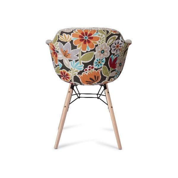 Béžová jedálenská stolička s nohami z bukového dreva Furnhouse Flame