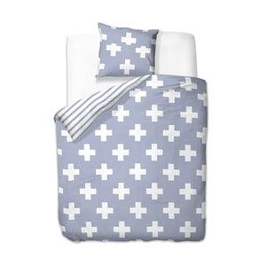 Modro-biele obliečky z mikrovlákna DecoKing Cross, 135x200cm