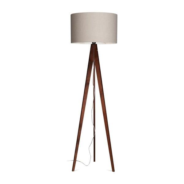 Sivá stojacia lampa 4room Artist, hnedá lakovaná breza, 150 cm