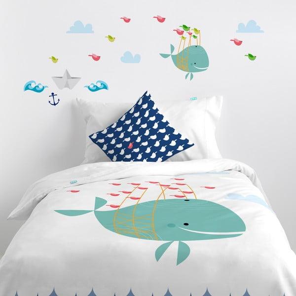 Samolepka na stenu Whale Ride, 29,7x42 cm