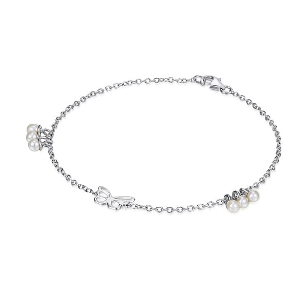 Strieborný náramok s perlami a príveskom Chakra Pearls Butterfly, 17 cm