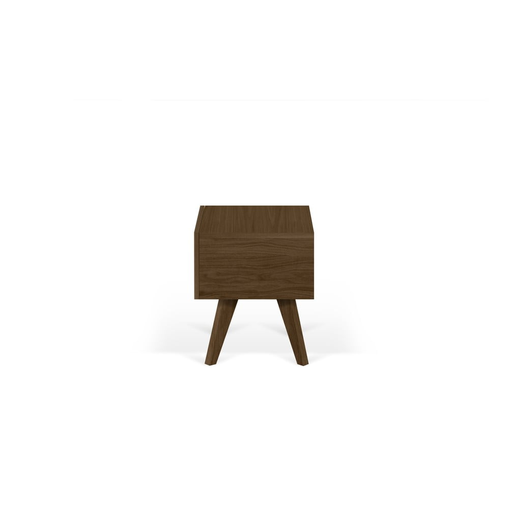 Hnedý nočný stolík s nohami z masívneho dreva TemaHome Mara, 50 × 51 cm
