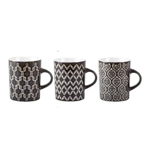 Sada 3 čiernych hrnčekov Galzone Mug