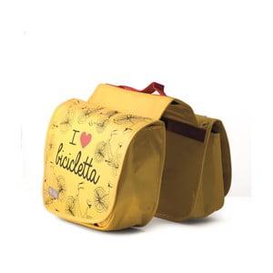 Dvojitá taška na bicykel I ♥ Bicicleta, žltá