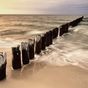 Sklenený obraz Sunset & Sea, 30x30 cm