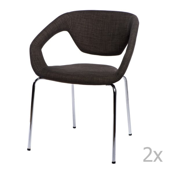 Sada 2 stoličiek D2 Space, čalúnené, hnedé