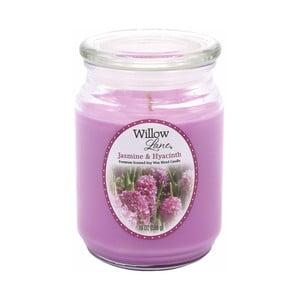 Vonná sviečka v skle zo sojového vosku s vôňou jazmínu a hyacintu Candle-Lite, doba horenia až 115 hodín