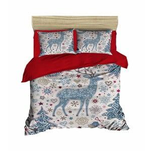 Sada obliečky a plachty na dvojposteľ Christmas Reindeer Blue, 200×220 cm
