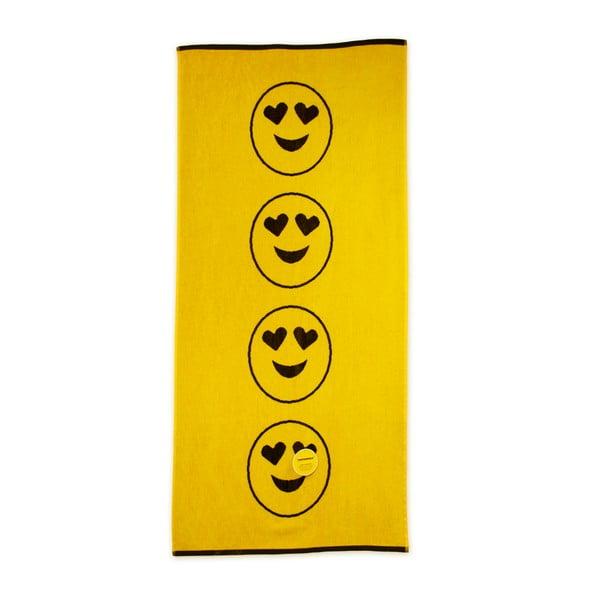 Žltá plážová bavlnená osuška Bergner Emoticon, 75×150cm