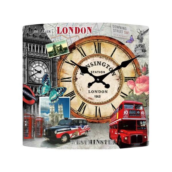 Sklenené hodiny Londýn, 34x34 cm