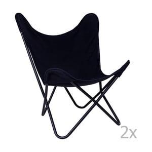 Sada 2 čiernych stoličiek House Nordic Como