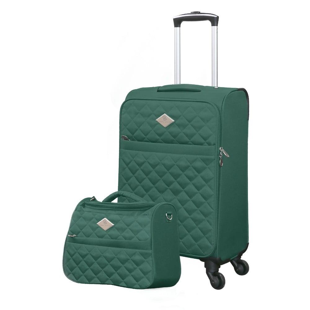 Set zeleného cestovného kufra na kolieskach a menšieho kufríka GERARD PASQUIER Valises Cabine & Unity Case
