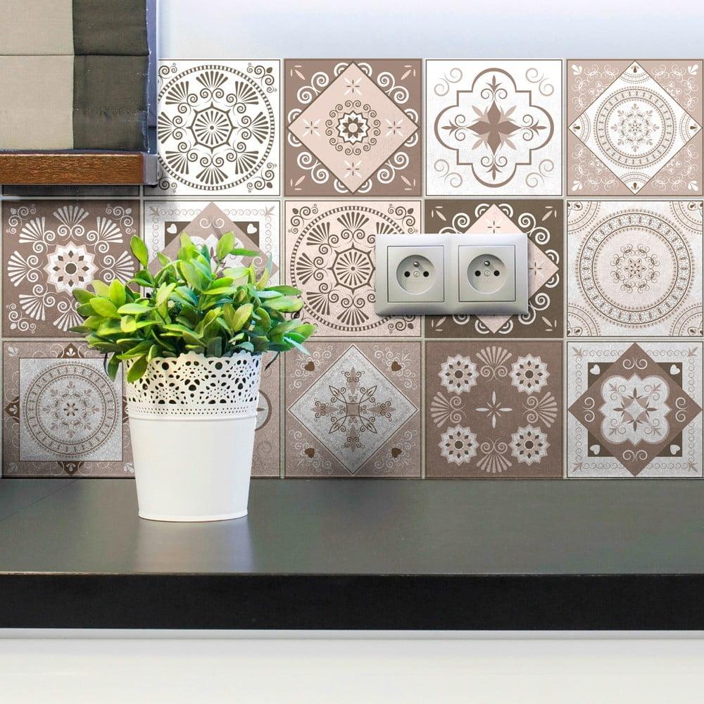Sada 15 dekoratívnych samolepiek na stenu Ambiance Ezeiza, 15 × 15 cm