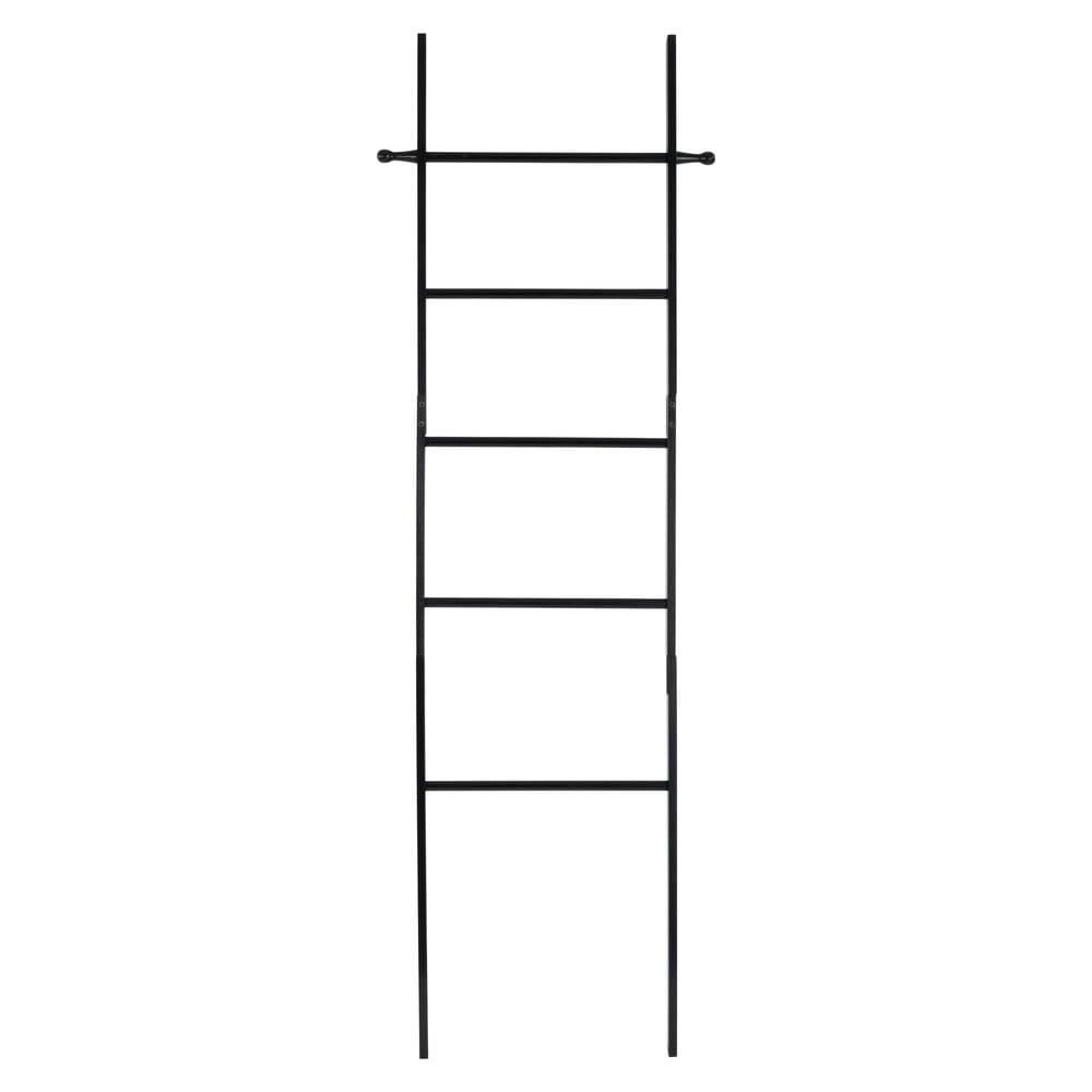Čierny bambusový rebrík na uteráky Wenko Suri