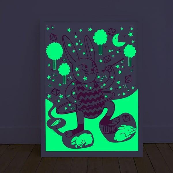 Plagát svietiaci v tme OMY Bunny, 30 x 40 cm