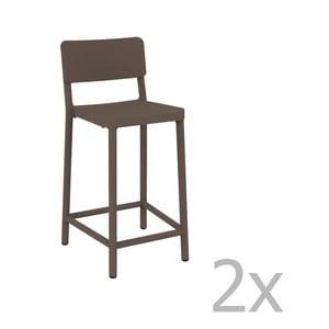 Sada 2 čokoládovohnedých barových stoličiek vhodných do exteriéru Resol Lisboa Simple, výška 92,2 cm
