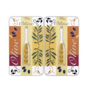 Sklenený kryt na sporák Olive, 2 ks