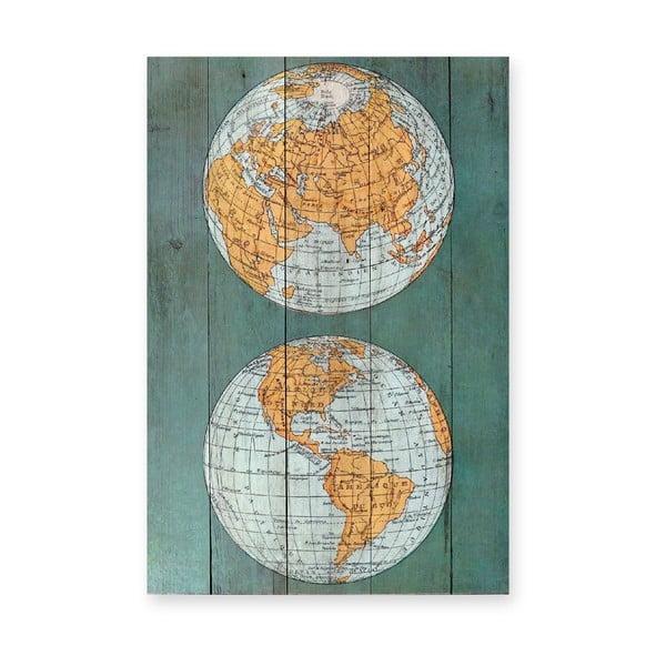 Drevená ceduľa The World