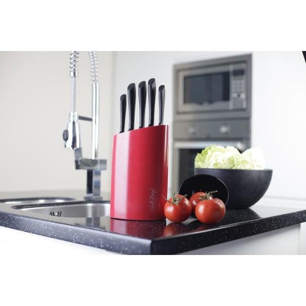 Červený stojan s piatimi nožmi Vialli Design