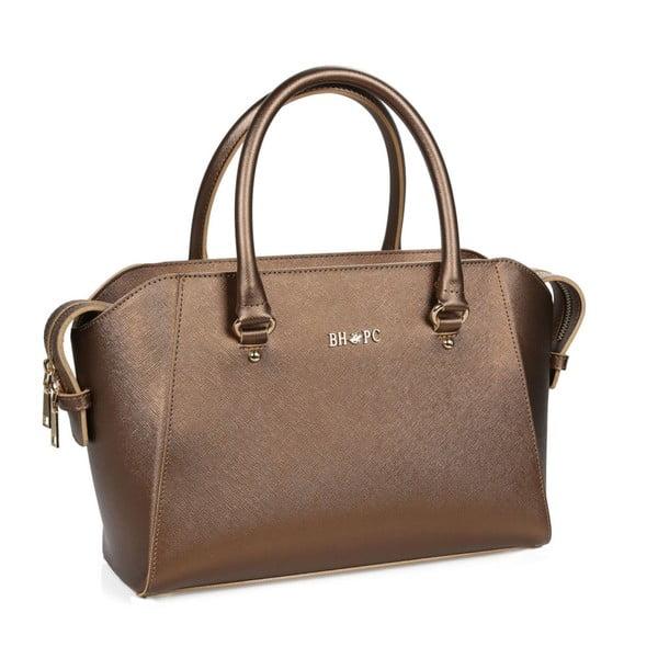 Hnedá kabelka z eko kože s medenými odleskami Beverly Hills Polo Club Sonia