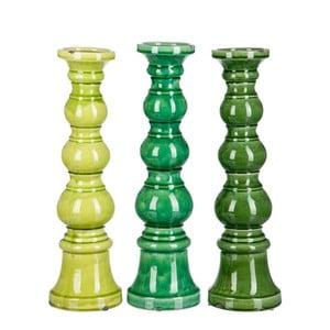 Sada 3ks svietnikov Green Balls, 14x14x36 cm