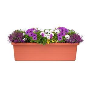 Veľkoobjemový samozavlažovací kvetináč vo farbe terakoty Plastia Berberis TRIO, 72 l