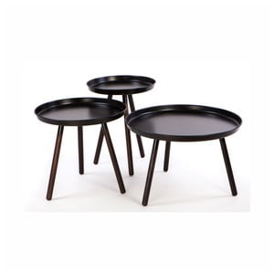 Sada 3 čiernych odkladacích stolíkov Nørdifra Sticks