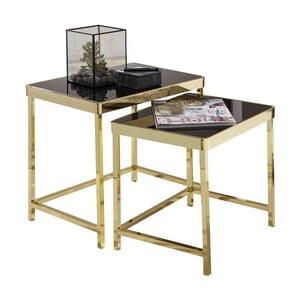 Sada 2 čiernych príručných stolíkov s nohami v zlatej farbe Skyport Wohnling Viola