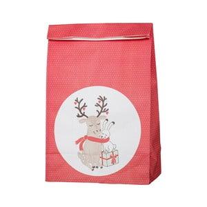 Červené papierové desiatové vrecko s vianočnou tematikou Bloomingville Love