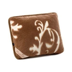 Hnedý vlnený vankúš z ťavej vlny vlny Royal Dream Cappucino and Chocolate, 50x60 cm