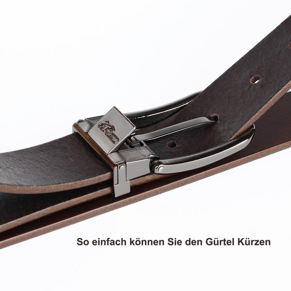 Pánsky kožený opasok 3PJ30 Cognac, 120 cm