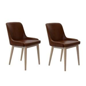 Sada 2 jedálenských stoličiek Edgar, hnedé