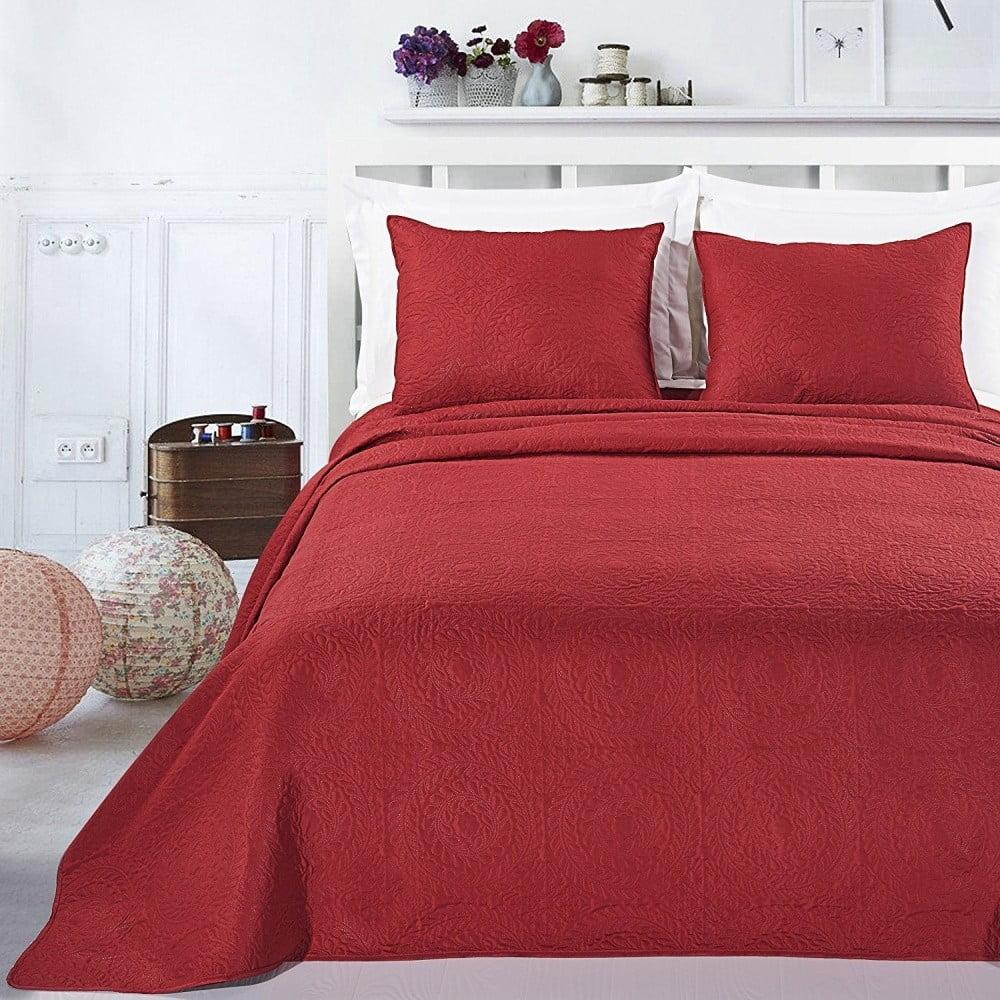 Červený set obliečka na vankúše a prikrývka z mikroperkálu DecoKing Elodie, 170 × 210 cm